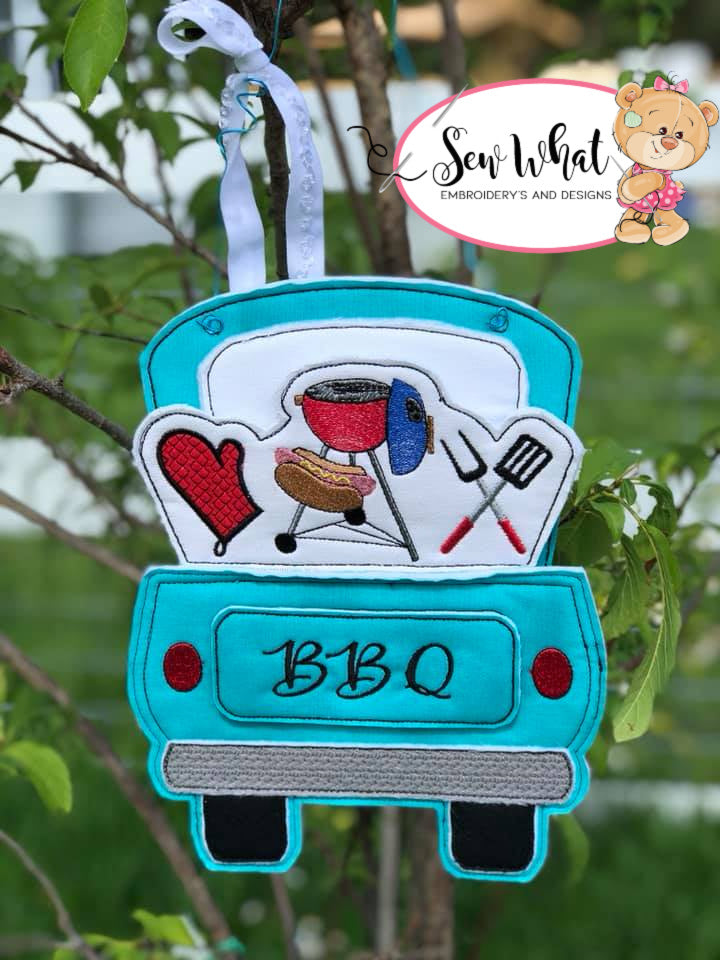 In The Hoop Red Truck BBQ Add-on Embroidery Design (Truck not included)