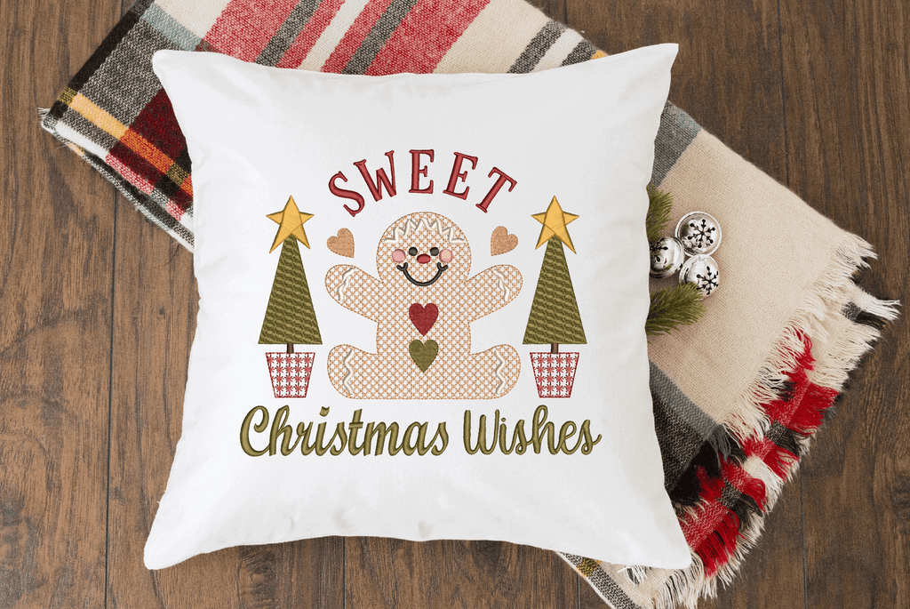Sweet Christmas Wishes Gingerbread Embroidery Design - Sew What Embroidery Designs