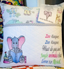 Reading Elephant Sketch Filled and Zoo Keeper Saying Embroidery Design