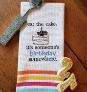 Eat The Cake. It's Someone's Birthday Somewhere Sketch Filled Embroidery Design - Sew What Embroidery Designs