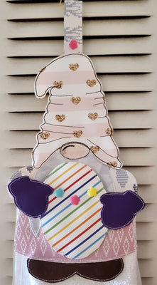 In The Hoop Gnome Towel Holder with Easter Add on Embroidery Design - Sew What Embroidery Designs