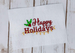 Happy Holidays Christmas Embroidery Design - Sew What Embroidery Designs
