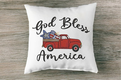 Patriotic Vintage Red Truck Embroidery Design