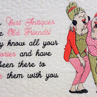 The best antiques are old friends- Older ladies Best Friend Embroidery Design