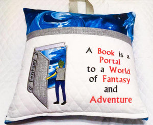 A book is a portal to a world of fantasy and adventure- Boy and book-Applique Embroidery Design