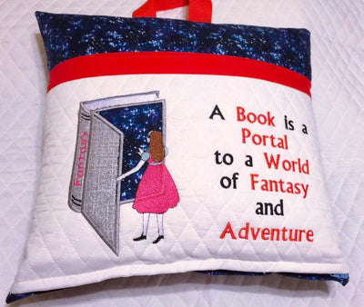A book is a portal to a world of fantasy and adventure- Girl and book-Applique Embroidery Design