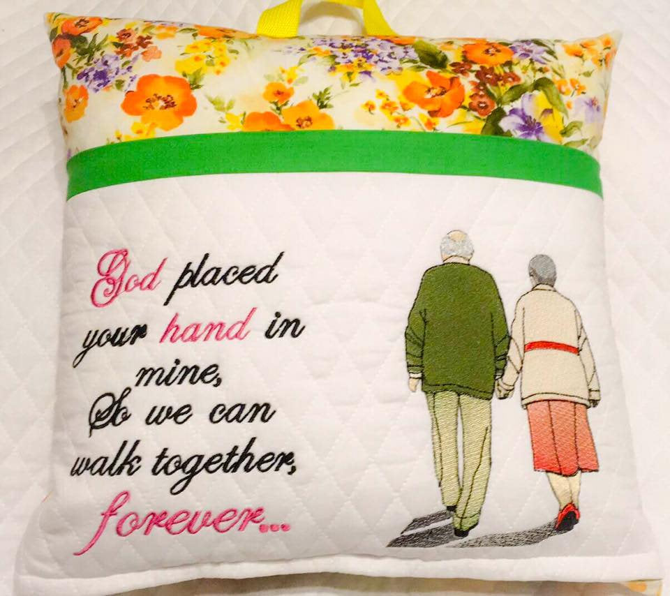 God placed your hand in mine, So we can walk together, forever Saying only Embroidery Design