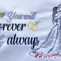 First Kiss Wedding Man and Woman Embroidery Design