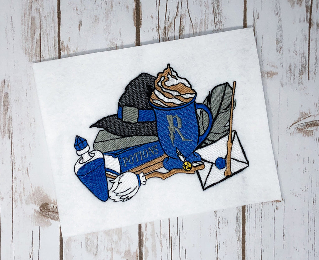 Blue Wizard Books with Broom, Wand and Potion Embroidery Design