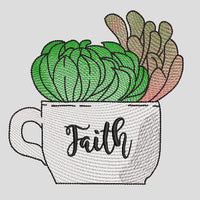 Farmhouse Succulent Coffee Cup w/Faith Embroidery Design