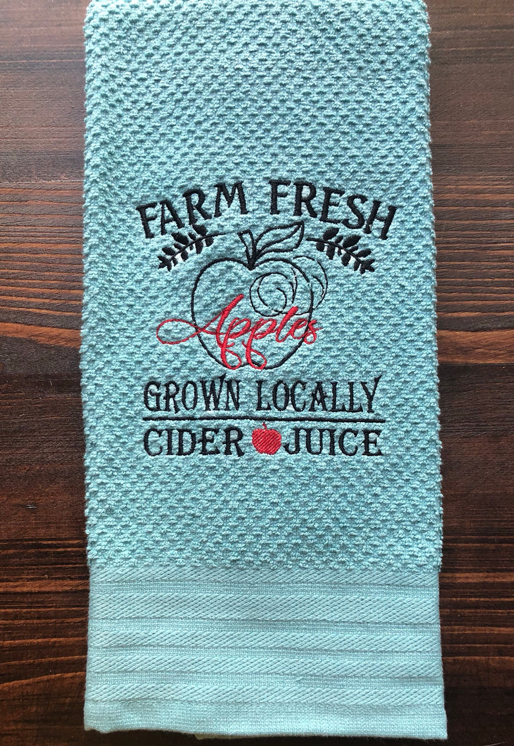 Farm Fresh Apples Grown Locally Embroidery Design