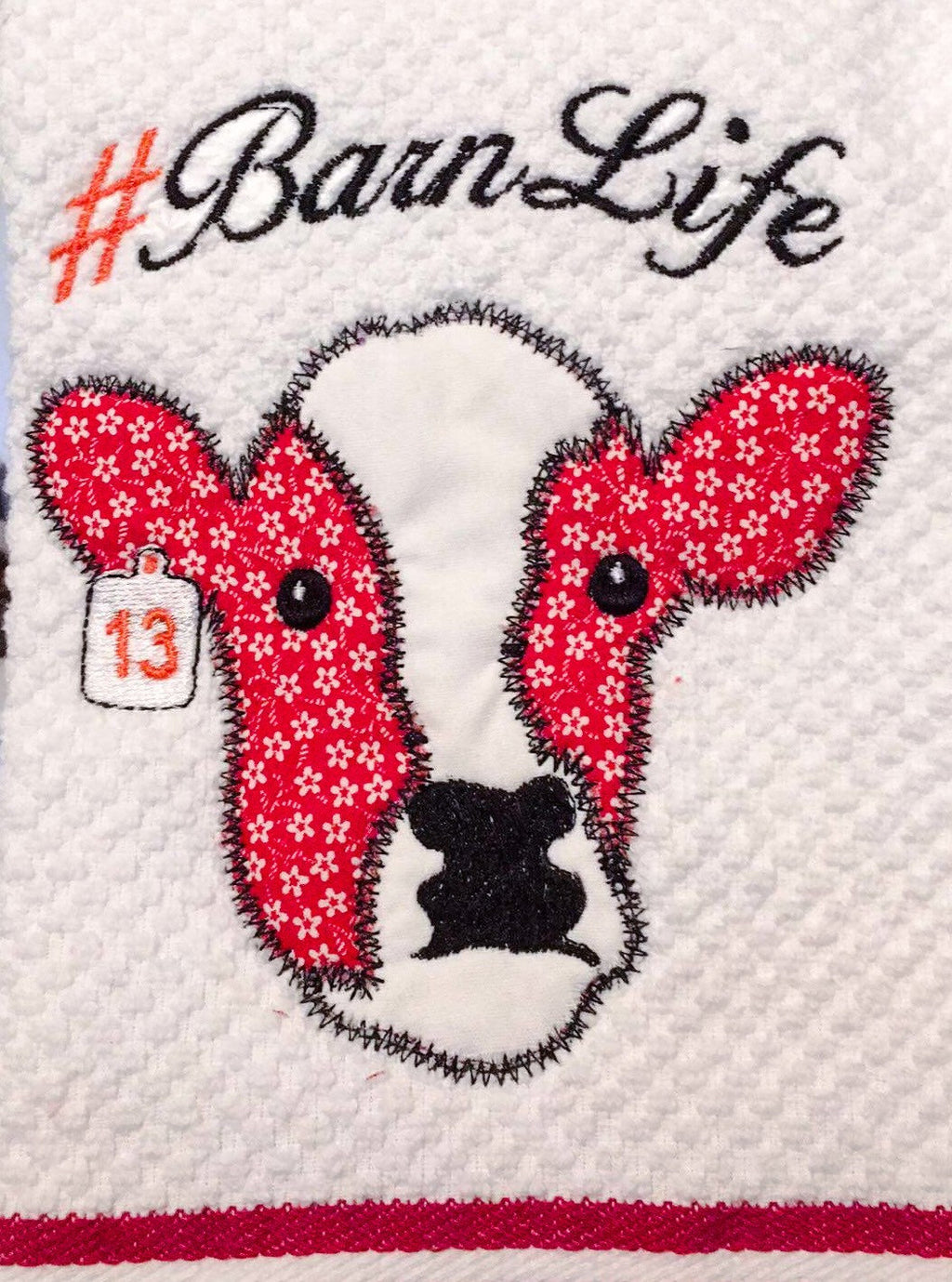 Barn Life Applique Cow Embroidery Design
