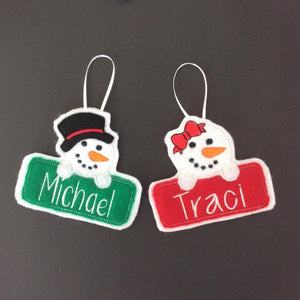 Set of 2 Snowman and Snow girl Christmas Ornaments In The Hoop Applique Embroidery Design