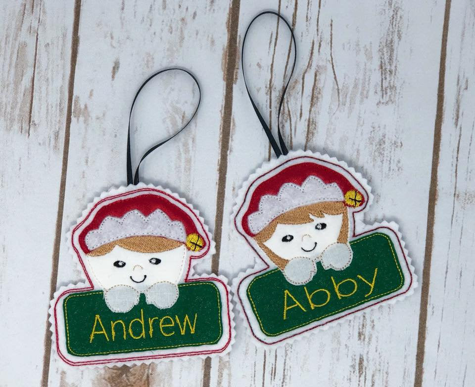 Elf Boy and Girl In The Hoop Embroidery Applique Christmas Ornaments