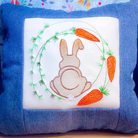 Fuzzy Easter Bunny with Carrot Wreath Embroidery Design