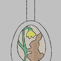 Easter Bunny Silhouette Egg Key Fob Embroidery Design