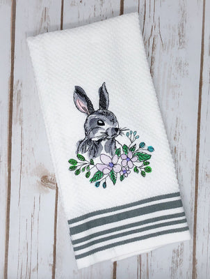 Floral Bunny Sketch Embroidery Design