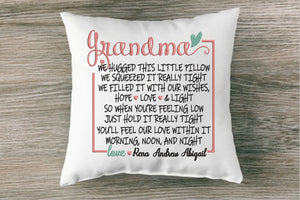 We Hugged This Little Pillow With All Our Love Embroidery Design