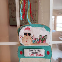 Ith Red Truck Gone To The Beach Snowman Add-On Embroidery Design (Truck Not Included)