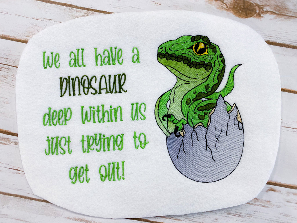 Hatching Dinosaur w/Dinosaur Within Us Sketch Filled Embroidery Design - Sew What Embroidery Designs