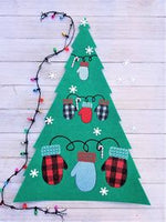 Buffalo Plaid Mittens Christmas Embroidery Design