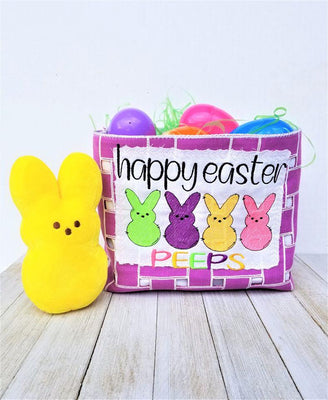Happy Easter Peeps Sketch Filled Embroidery Design - Sew What Embroidery Designs