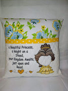 Fairy Tale Reading Princess W/princess Saying Sketch Filled Embroidery Design - Sew What Embroidery Designs