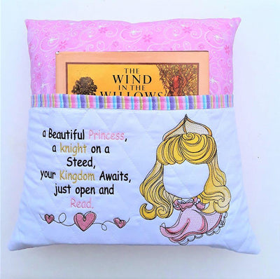 Fairy Tale Sleeping Princess W/princess Saying Sketch Filled Embroidery Design - Sew What Embroidery Designs