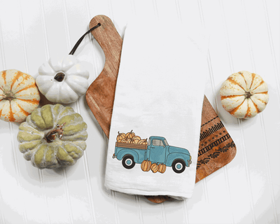Fall Pumpkin Vintage Truck Sketch Filled Embroidery Design - Sew What Embroidery Designs