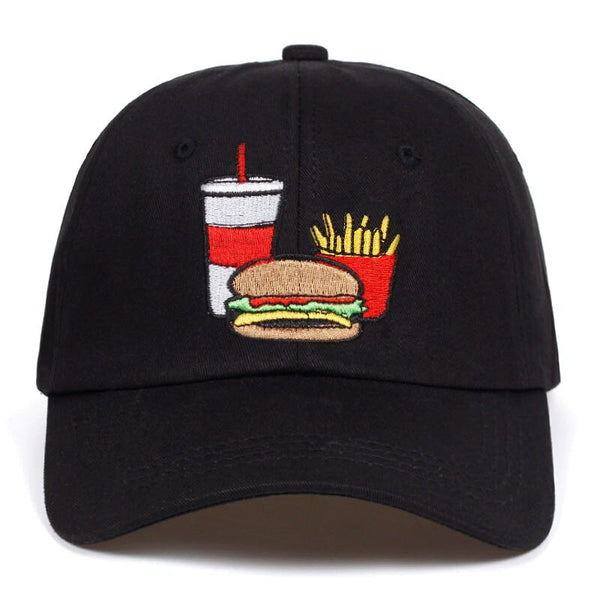 Cola Fries and Burger Embroidered Black Baseball Hat
