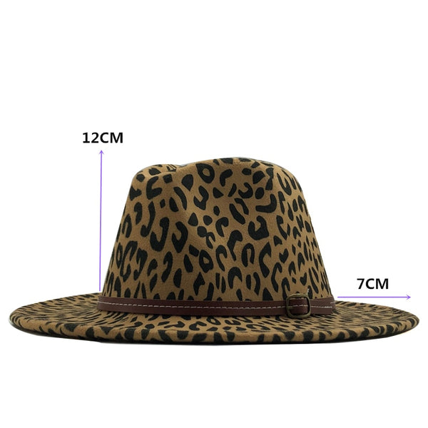 Leopard Fedora Hat with Leather Belt