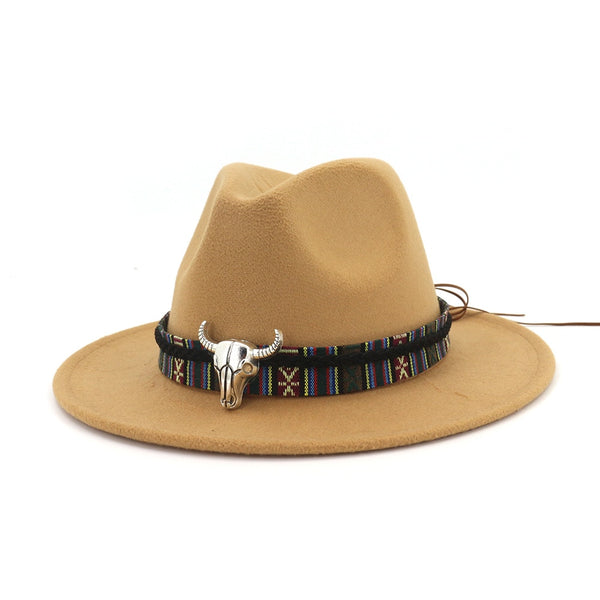 Fedora Hat with Metal Longhorn