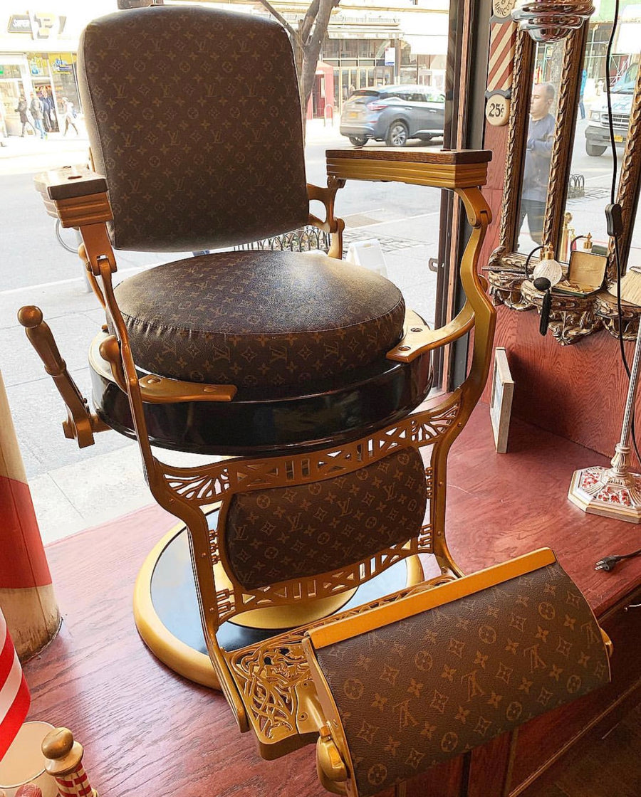 Vintage Chair With Signature Louis Vuitton Leather