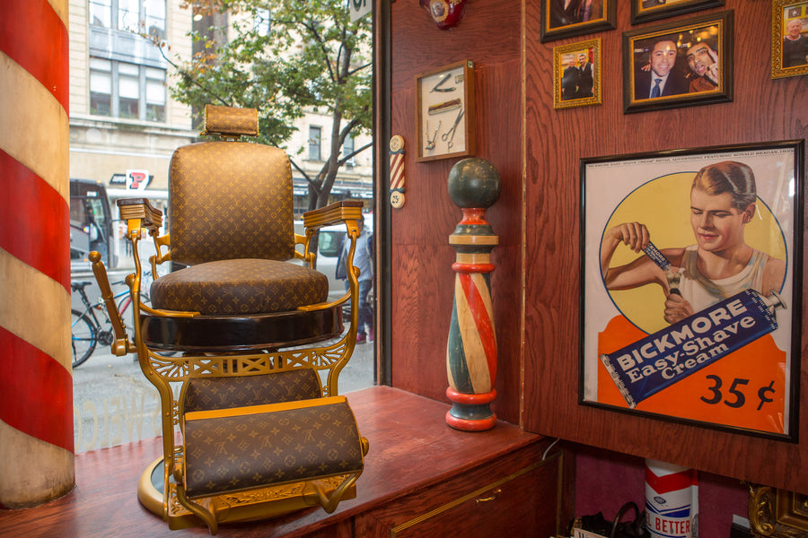 NYC Barber Shop Museum Vintage Koken's Barber Chair Louis Vuitton by Arthur Rubinoff