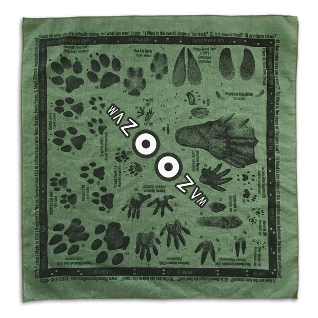 animal tracking bandana with common north american animal tracks and names laid flat