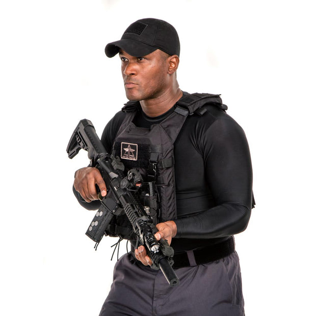tactical man wearing black cache cap with six secret pockets