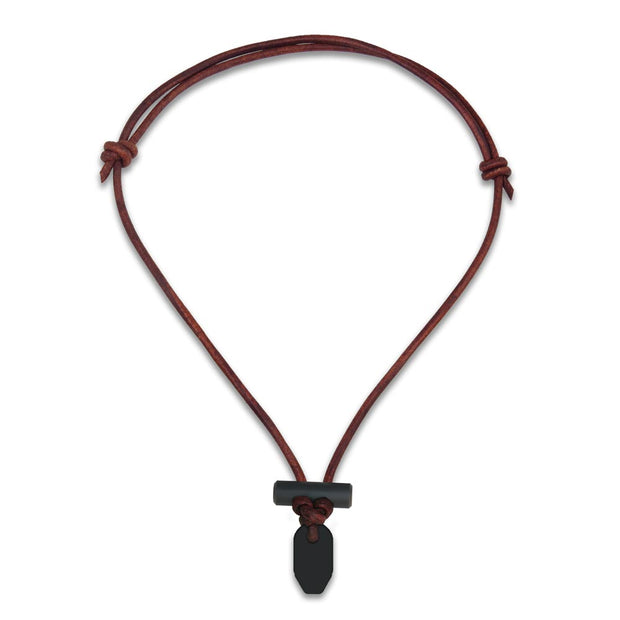 Bushcraft leather fire starter necklace with black ceramic and firesteel toggle