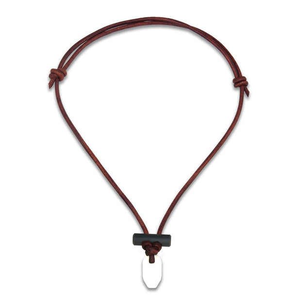 Bushcraft leather fire starter necklace with white ceramic and firesteel toggle