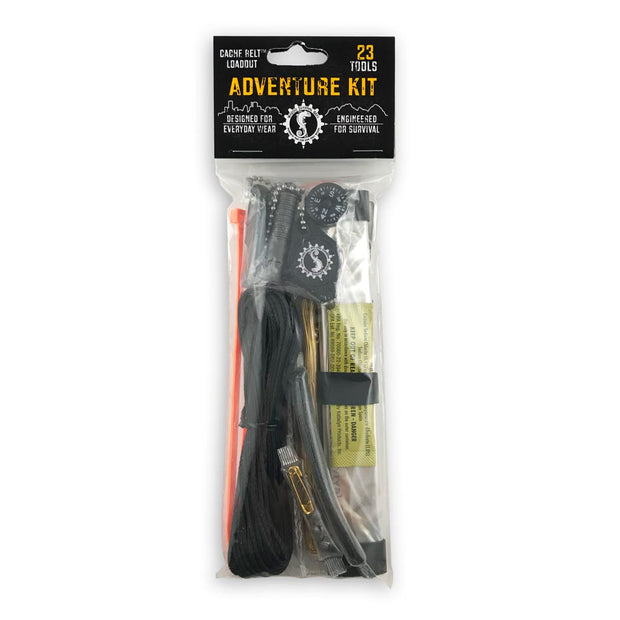 survival kit with 23 tools in packaging including signal mirror flashlight compass and knife to include in everyday carry