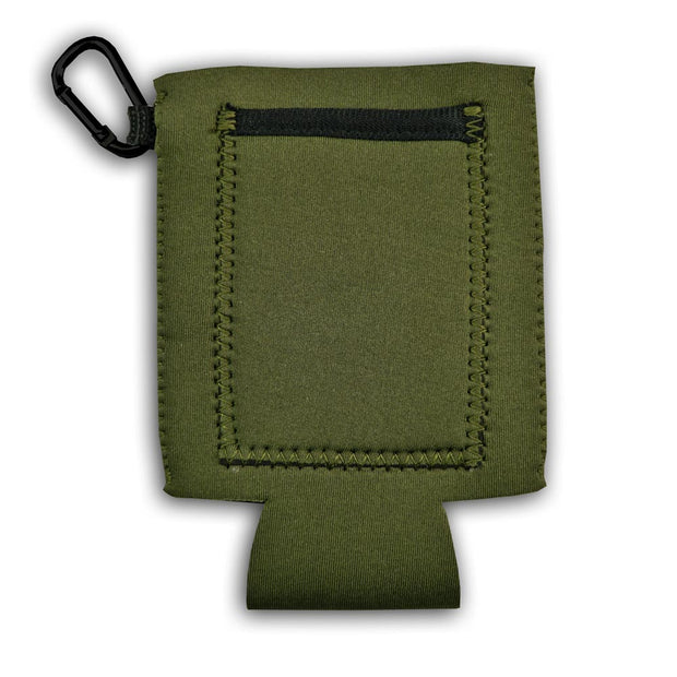 pocket on backside of cache beer coat in army green with carabiner