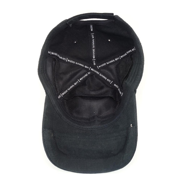 view of the inside of black tactical cap that shows the pockets in the hat