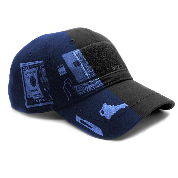 tactical black cache cap showing x-ray image of how to store items in the hidden pockets of the cap