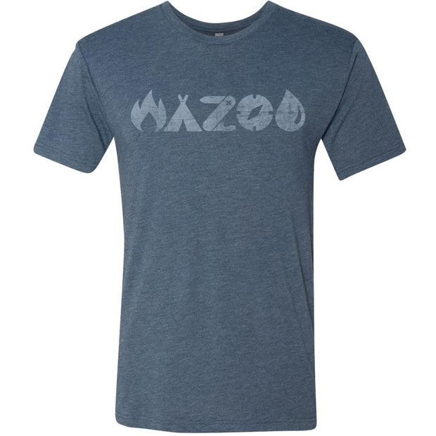 blue tri-blend t-shirt with wazoo symbology logo across front