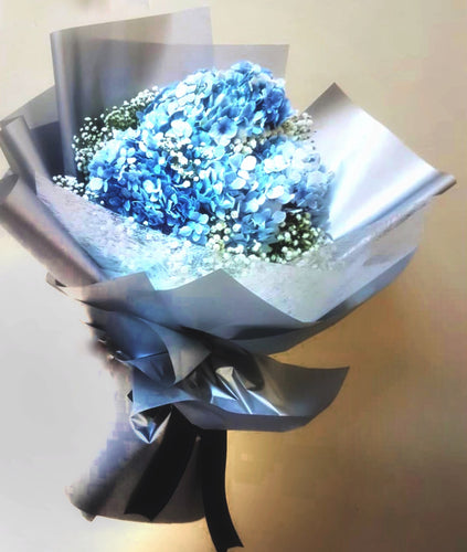 Blue hydrange hand bouquet, free delivery
