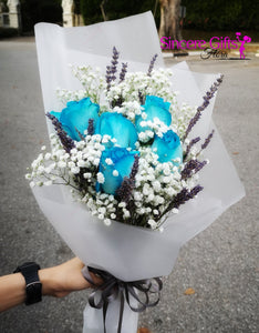 Blue roses with Lavender bouquets