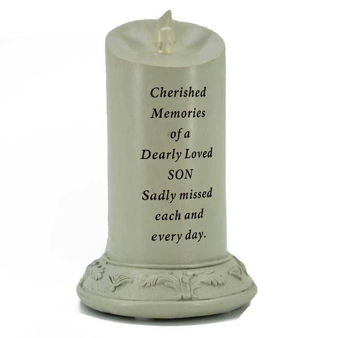 Cherished Memories of a Dearly Loved Son Solar Powered Memorial Candle - Angraves Memorials