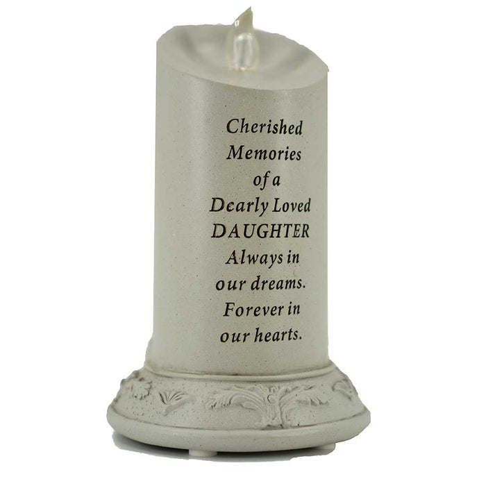 Cherished Memories of a Dearly Loved Daughter Solar Powered Memorial Candle - Angraves Memorials