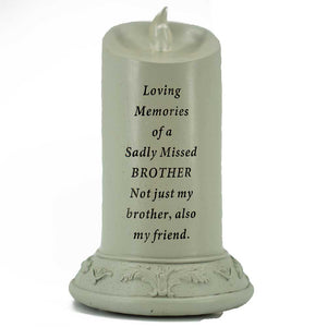 Loving Memories of a Sadly Missed Brother Solar Powered Memorial Candle - Angraves Memorials