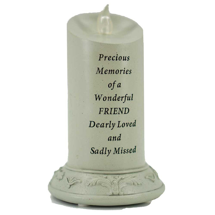 Precious Memories of a Wonderful Friend Solar Powered Memorial Candle - Angraves Memorials