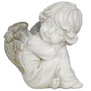 Sitting Angel Cherub Antique Silver White Memorial Decorative Ornament